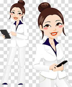 illustration de femme aux cheveux bruns, femme d'affaires femme d'affaires, femme d'affaires peinte à la main png