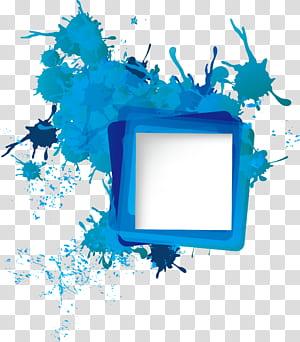 Icône, bordure d'éclaboussures, splat de peinture bleu et turquoise png