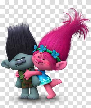 King Peppy DJ Suki Biggie Poppy Animation DreamWorks, branche de Trolls et pavot, illustration de DreamWorks Trolls Poppy embrassant une branche png