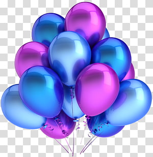 Ballon, ballons bleus et roses, ballons bleus et violets png