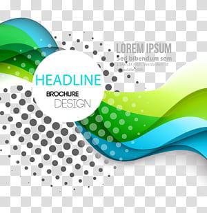 Matériel de base de lignes de courbe de mode dynamique, du logo de conception Headline Brochure avec fond bleu png