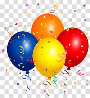 Ballon, confettis et ballons, autocollant ballon à quatre png