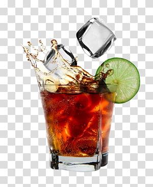 Verre à liqueur rempli d'illustration liquide, Cocktail Coca-Cola au rhum et au Coca, boire png
