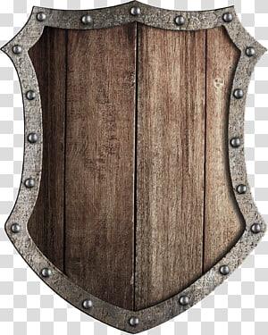 illustration de bouclier marron et gris, bouclier armoiries du Moyen Âge épée, bouclier en bois png