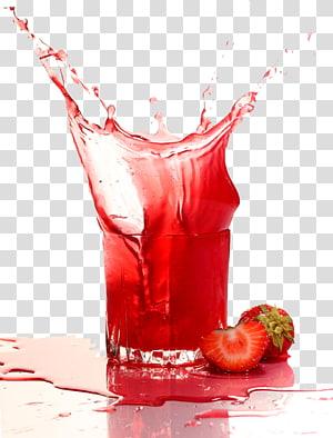 illustration d'éclaboussure de jus de fraise, jus de fraise boisson gazeuse Purxe9e, jus coloré png