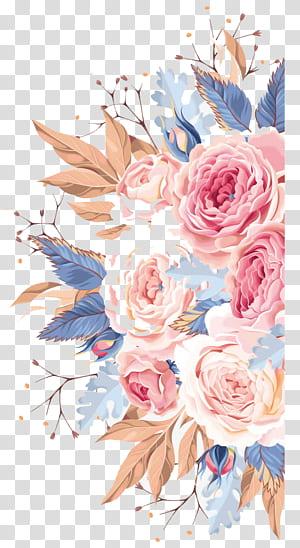 Invitation de mariage aquarelle fleur, aquarelle fleurs, illustration de fleurs multicolores png