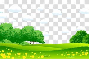 arbres verts sous illustration de nuages bleus, dessin animé paysage peinture illustration, herbe verte prairie mongole png