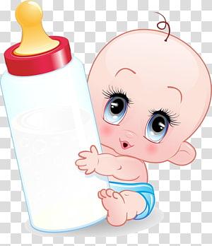 Dessin animé bébé biberon, bébé, bébé tenant illustration de biberon png