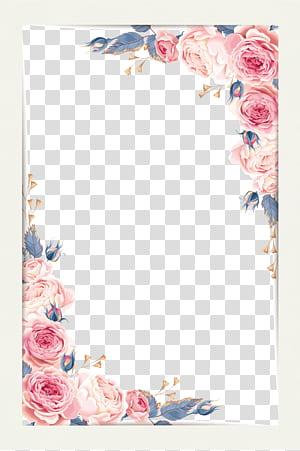 Peinture à l'aquarelle, beau petit matériel de bordure fraîche, illustration rose rose png