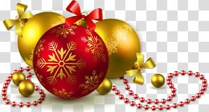 Noël ornement arbre de Noël, boules de Noël or et rouges, illustration de boules de Noël png