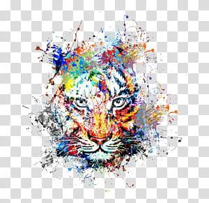 Art abstrait Peinture Dessin, couleur créative splash d'encre tigre Avatar, art abstrait de tigre png