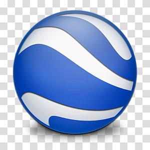 Logo rond bleu et blanc, sphère de boule bleue, Google Earth png