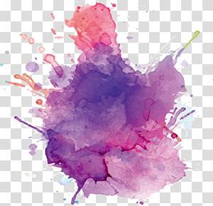 Papier aquarelle, encre, aquarelle d'encre pourpre, splash violet et rose png