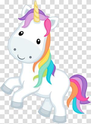 Licorne, visage de licorne, illustration de licorne blanche et multicolore png