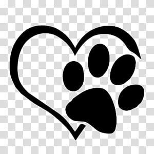 illustration de coeur et empreinte blanche, sticker décalque chien chat patte, pattes d'amour png