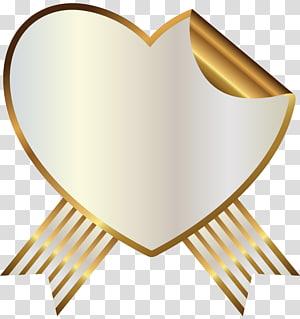 coeur de couleur or, joint sans oreille Cire à cacheter avec ruban, coeur et sceau avec ruban png