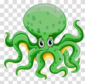 pieuvre verte et jaune illustration, animal aquatique créature des grands fonds vie marine, animaux marins png