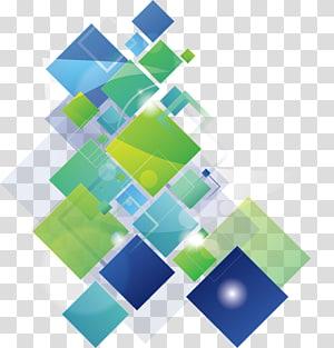 Bannière, fond de carrés colorés Fashion, carré vert et bleu png