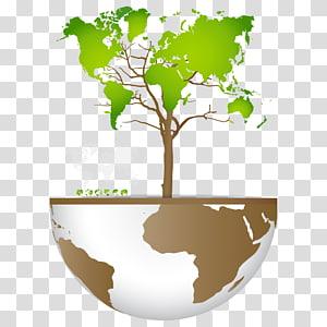 illustration d'arbre, illustration de la carte du monde, énergie et protection de l'environnement png
