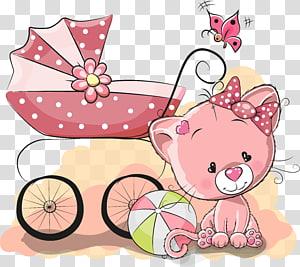 Illustration de gentillesse infantile, chat mignon de bande dessinée et poussettes, chat près de poussette de poussette png