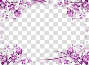 Cadre invitation de mariage Fleur cadre violet, cadre violet HD, art floral violet png