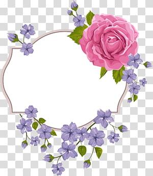 illustration de bordure de fleurs rose, violet et vert, invitation de mariage fleur violette, cadre fleur pourpre png