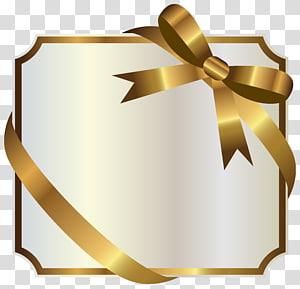 Ruban Gold Label, White Label avec Gold Bow, illustration de ruban doré png