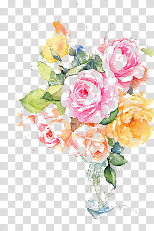 Aquarelle d'encre fleur, aquarelle, illustration de roses aquarelles, roses, oranges et jaunes png