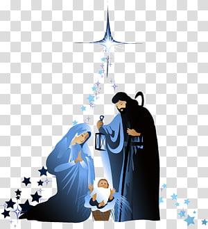 Illustration de la scène de la Nativité, Sainte Famille Nativité de Jésus, scène de la Nativité de Noël, matériel chrétien png
