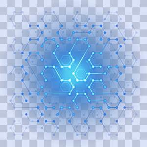 Poster Designer, Digital Technology Effet de lumière hexagone numérique, illustration bleue et turquoise png