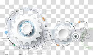 Technologie Euclidean Engineering Gear, éléments technologiques, illustration de pignon blanc png