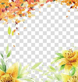 Automne été automne fond, peinture de fleur pétale jaune png