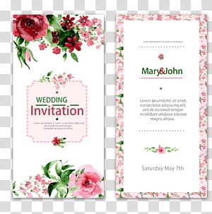 Faire-part de mariage Peinture à l'aquarelle Fleur, invitations de mariage en dentelle, lettre d'invitation de mariage Mary & John png