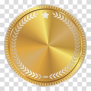 Sceau d'or, insigne de sceau d'or avec décoration, cadre rond brun et blanc png