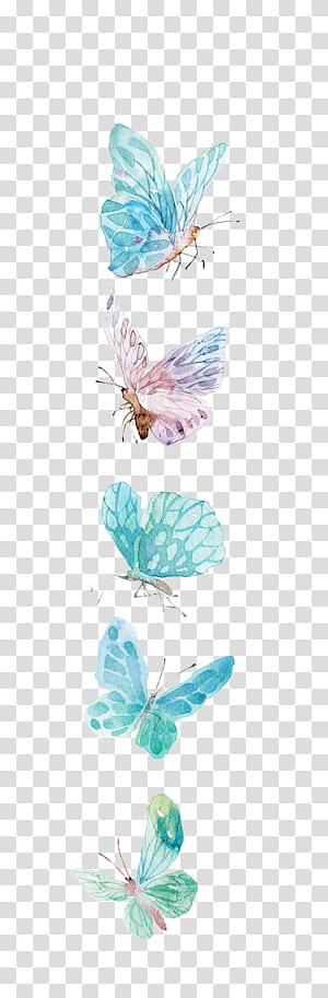 Icône papillon, illustration de papillons aquarelle papillon, bleu et violet png