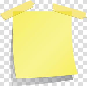 Post-it note, papier carré, pense-bête, illustrations numériques jaunes, pense-bête png