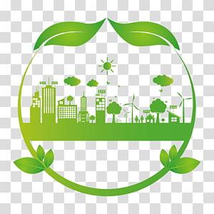 bâtiments de la ville et illustration de moulins à vent, protection de l'environnement environnement naturel écologie, bâtiment écologique png
