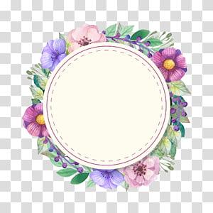 cadre floral vert, violet et rose, invitation de mariage douche nuptiale Couronne mariée, Invitations éléments décoratifs png