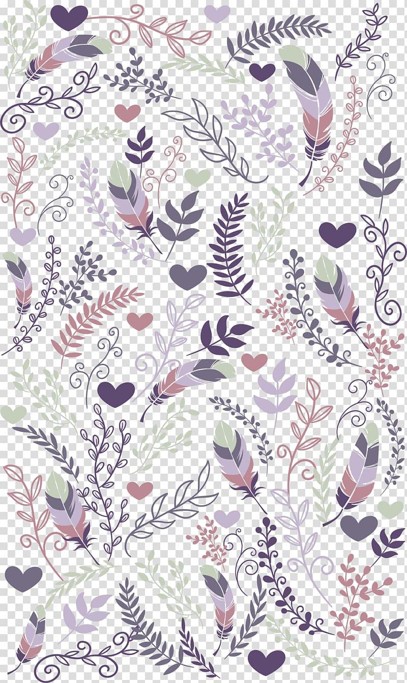 illustration de chauffe et de feuilles, invitation de mariage Réservez la date carte de voeux, fond plante violet plume png