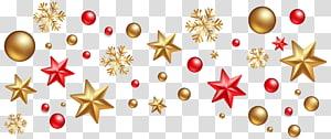Décoration de Noël Ornement de Noël Arbre de Noël, décorations de Noël, étoiles jaunes et rouges et flocons de neige png