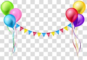 Serpentin à ballon, banderoles et ballons, illustrations de ballons de couleurs assorties png
