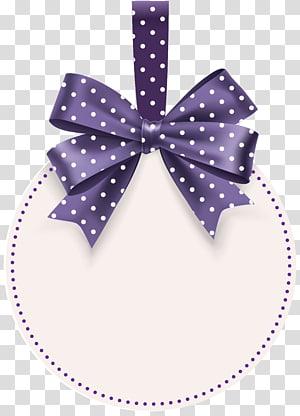 illustration d'arc à pois violet et blanc, étiquette, étiquette ronde avec modèle d'arc png
