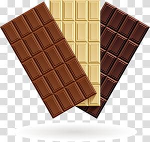 chocolats noirs et bruns, barre de chocolat chocolat chaud crème au chocolat blanc, trois sortes de délicieux chocolat png