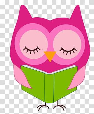 chouette, lecture, livre, illustration, lecture, hibou, bloc-notes, hibou rose, lecture png