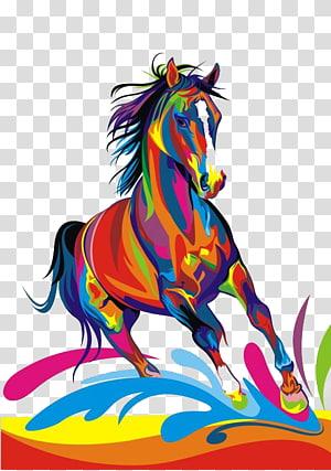 illustration de cheval multicolore, cheval arabe American Paint Horse Throw oreiller peinture équitation, la couleur des chevaux png