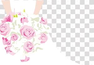 illustration bouquet rose rose, invitation de mariage douche nuptiale mariée, mariée tenant des fleurs png