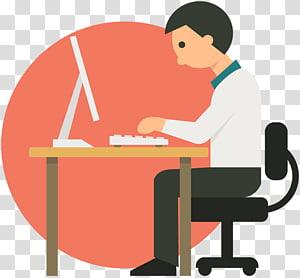 homme travaillant devant l'ordinateur, homme d'affaires en dessin animé, dossier de travail png