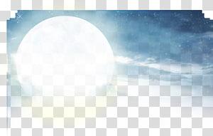 pleine lune, ciel blanc bleu clair de lune, ciel bleu et nuages blancs au clair de lune créatif png