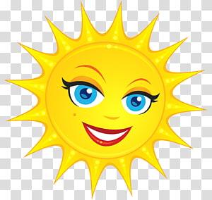illustration jaune soleil, Smiley, soleil mignon png