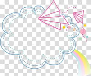 Dessin animé, frontière de nuages, nuages avec arc-en-ciel et avion en papier volant png
